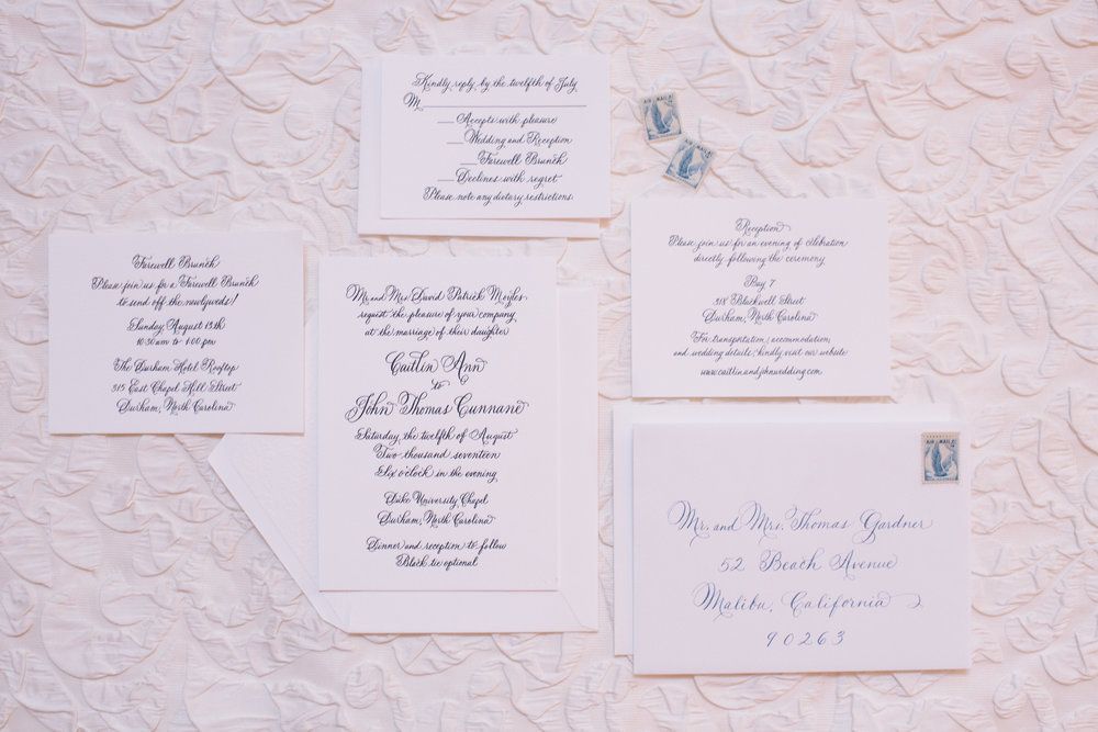Durham Chapel wedding invitation suite