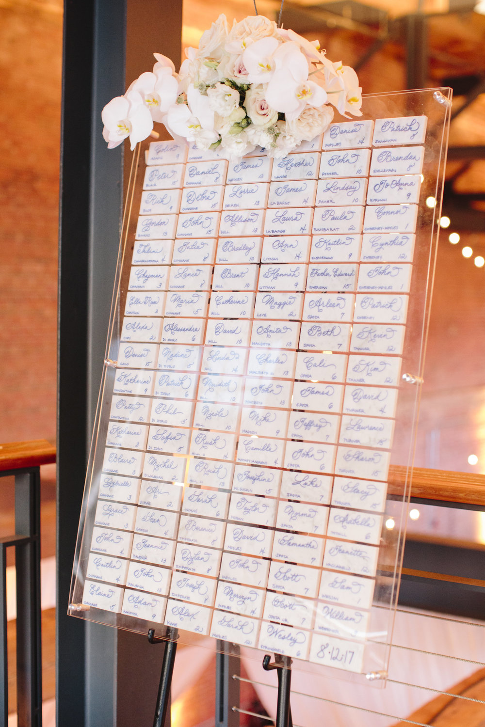 Plexiglass wedding escort cards