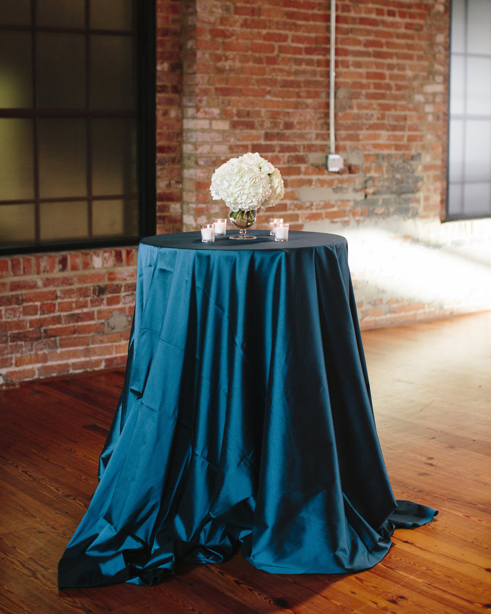 Blue silk wedding linens