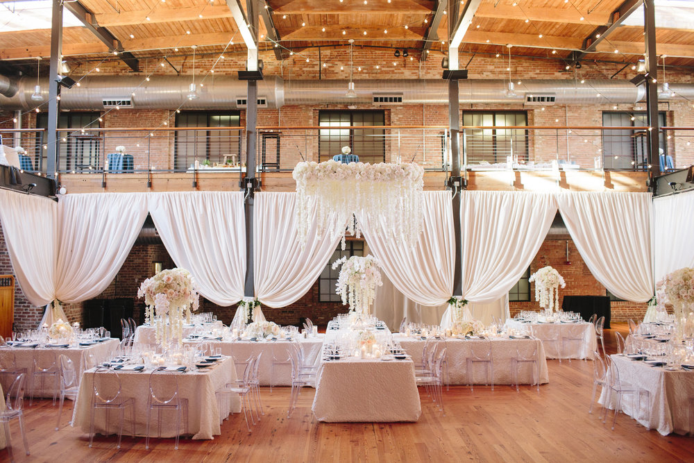 Classic white wedding reception at Bay 7 Durham