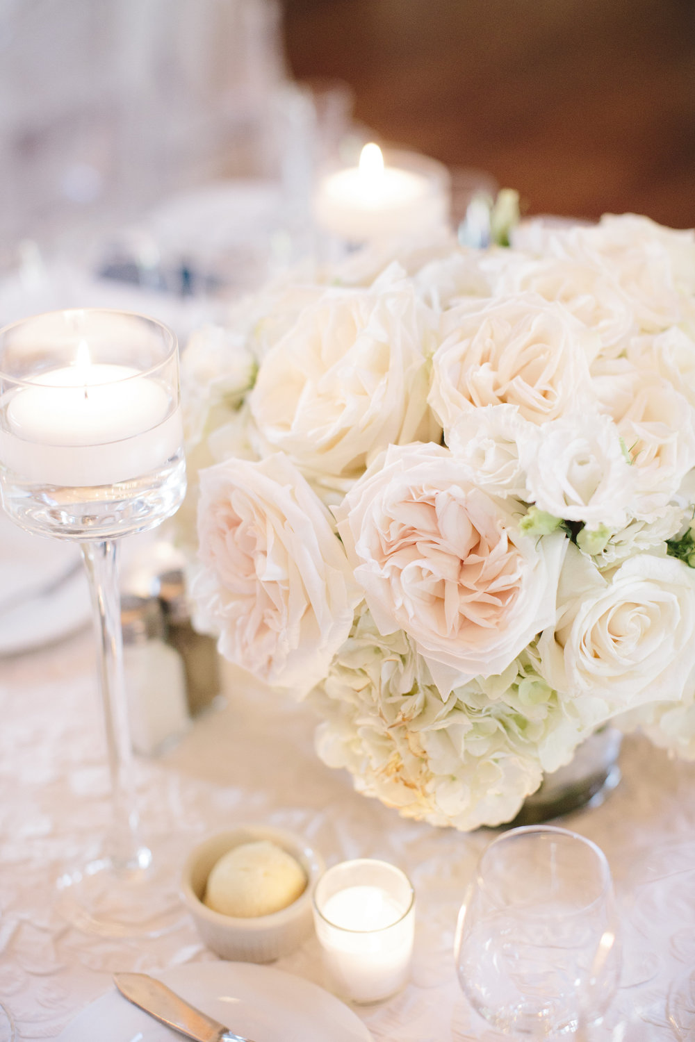 White wedding centerpieces by Lily Greenthumbs florist North Carolina