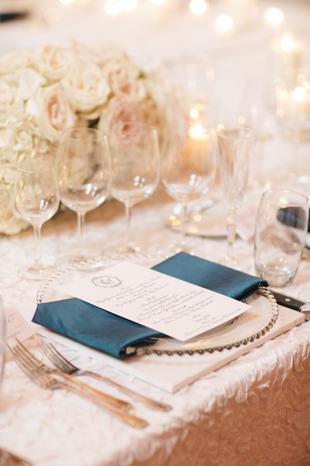White lace wedding linen with calligraphy menu