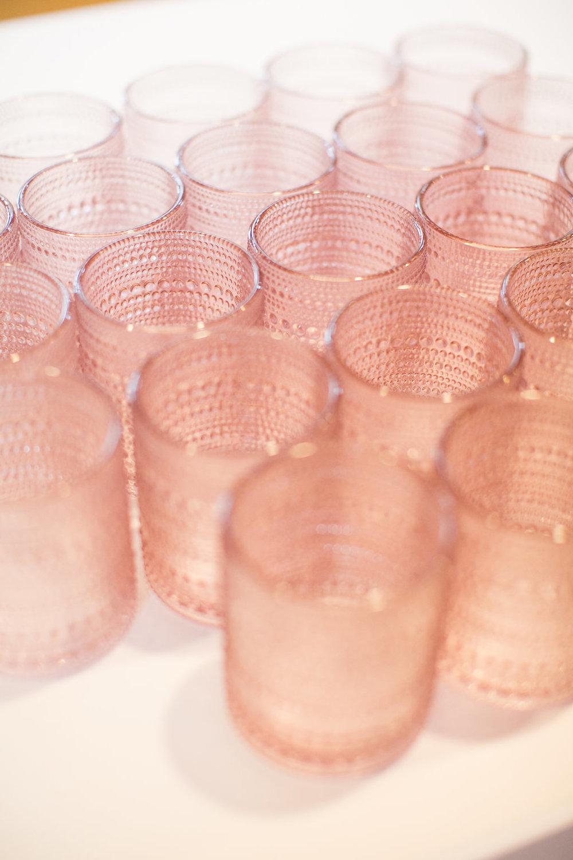 Pink wedding glassware