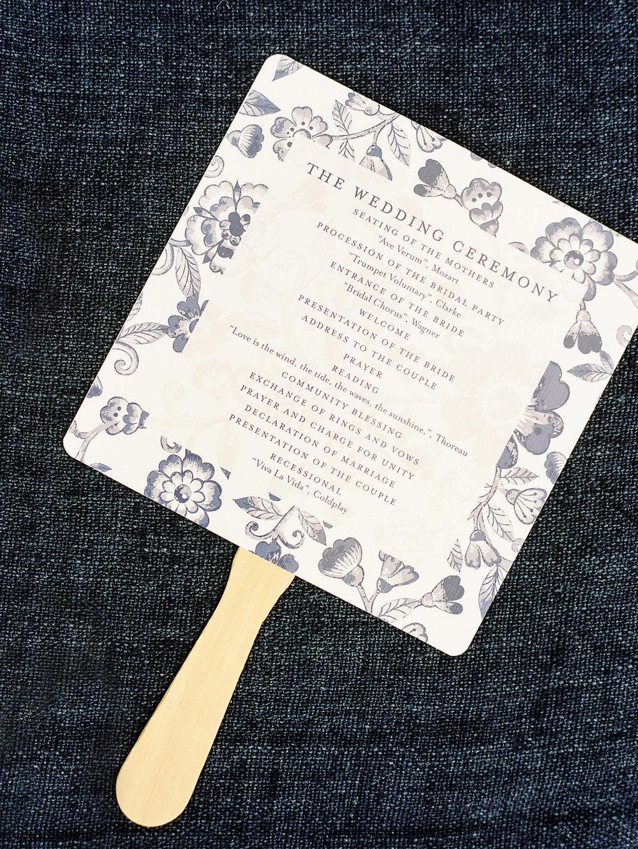 Floral pattern fan wedding program