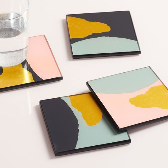 Color Block Coasters - Another great stocking stuffer idea - we like these color block gold foil coasters from West Elm. They are the perfect pop of pizzazz for a coffee table!
