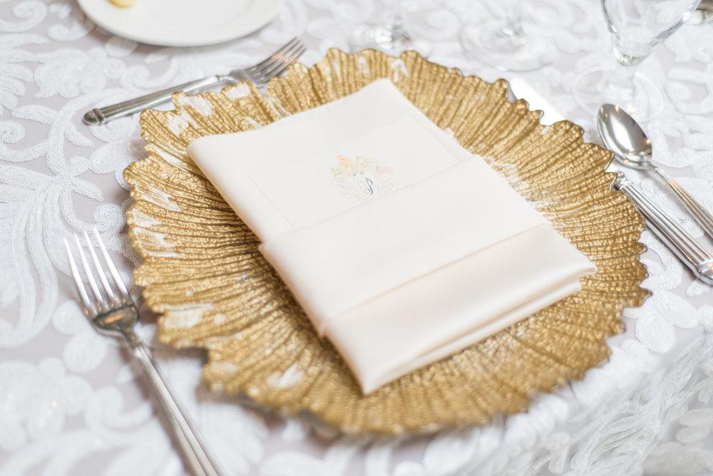 Menu Napkin Fold Gold Charger Wedding Guest Place Setting.JPG