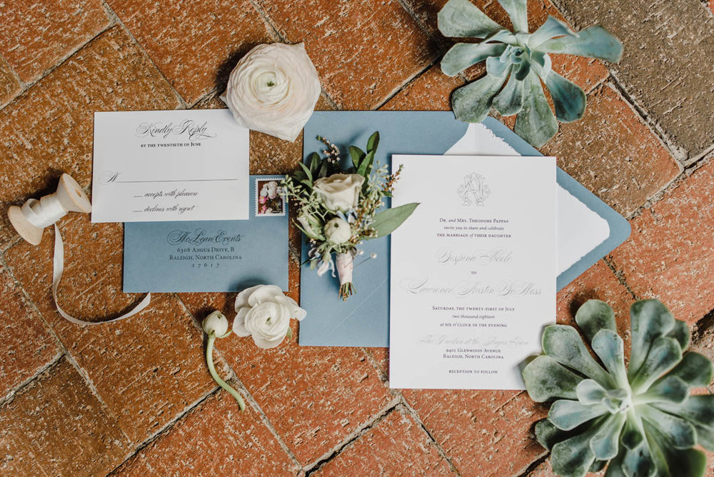 Classic blue grey wedding invitation suite