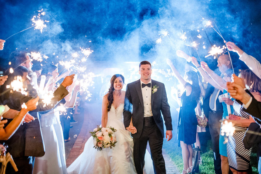 Sparkler exit at Angus Barn wedding