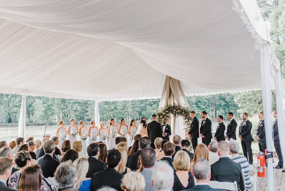 Wedding ceremony at Angus Barn Pavilion Raleigh NC
