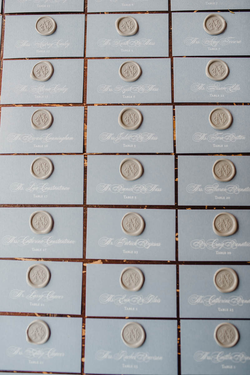 Wax seal escort cards with calligraphy