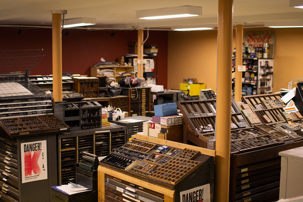 Where do you do your letterpress printing? - I proudly print at the Western New York Book Arts Center located in Buffalo, NY. No, I don't work there - though you may see me floating around as a volunteer, or as a vendor at one of their craft markets. If you've never been there, you're missing out!
