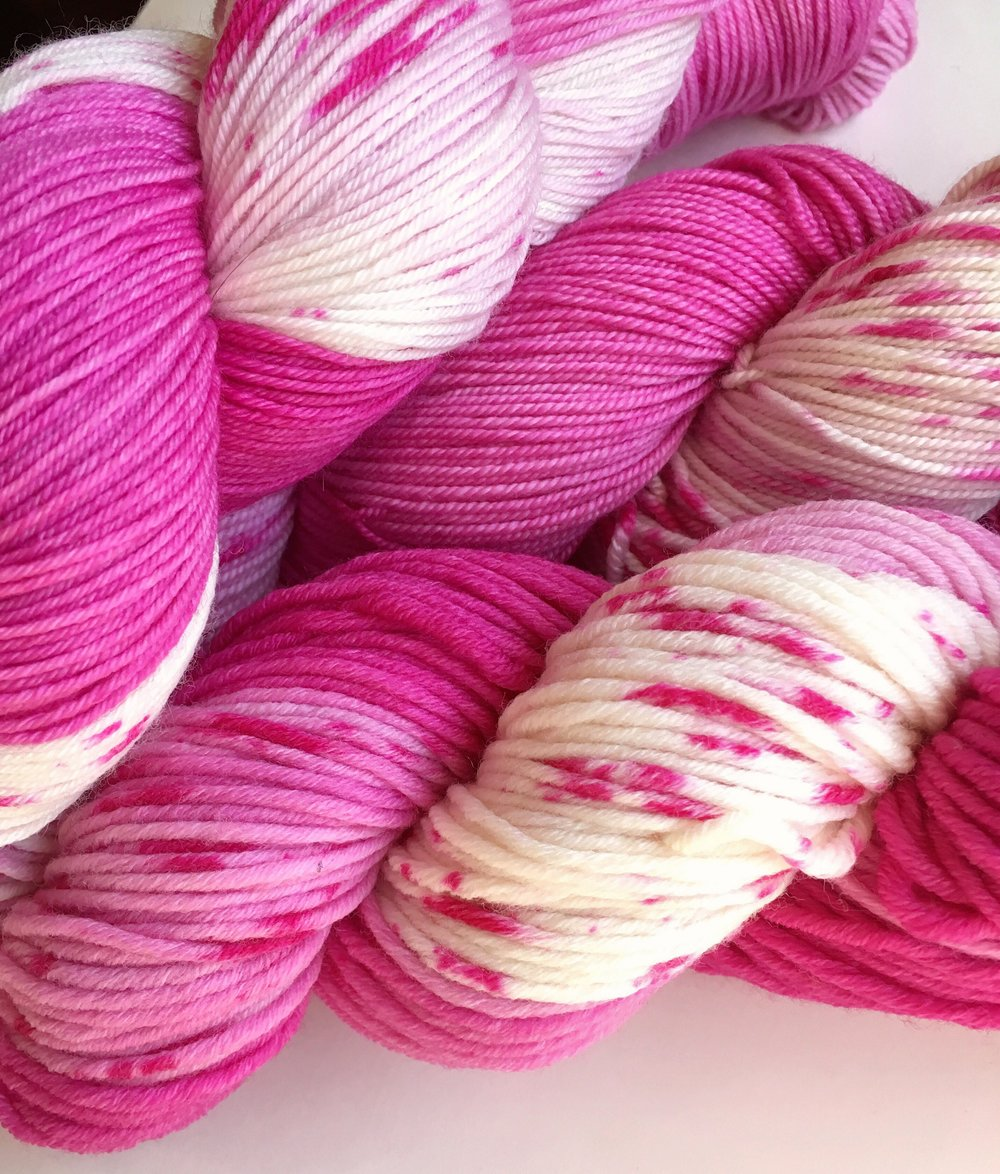 Lily  Shades of pink from deep magenta to light pink and creamy white, splatter dyed.