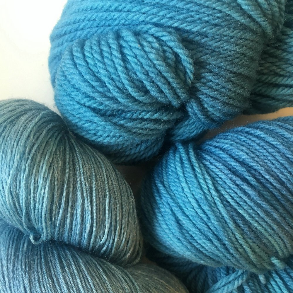 Pictured on Aura Lace, Targhee Sock, and Targhee Worsted