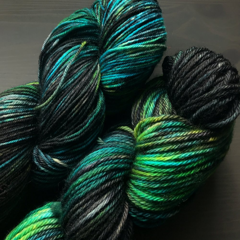 Pictured on Sheepy Feet and Superwash Merino Worsted