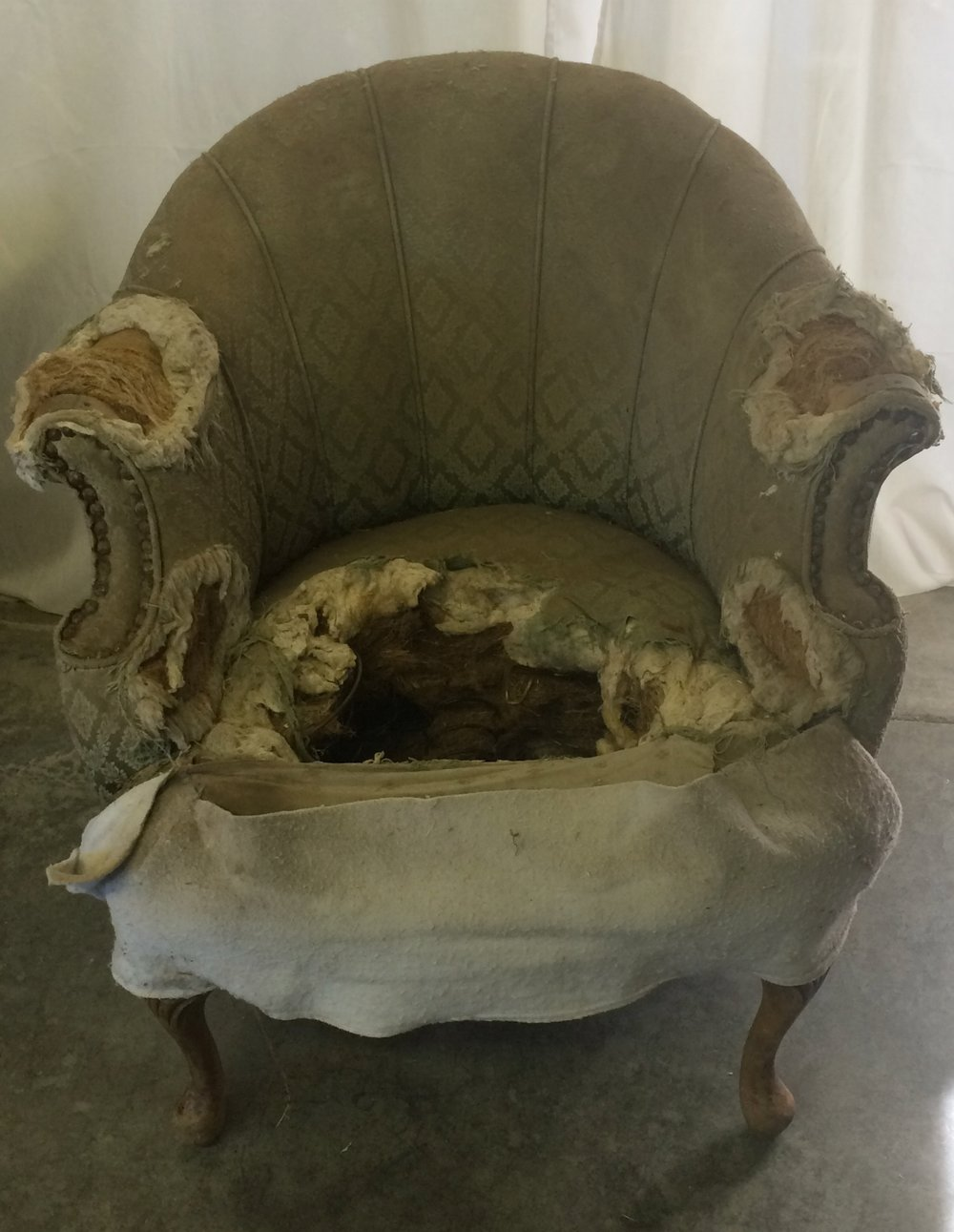 1930s Shell Chair as it was brought to us. -