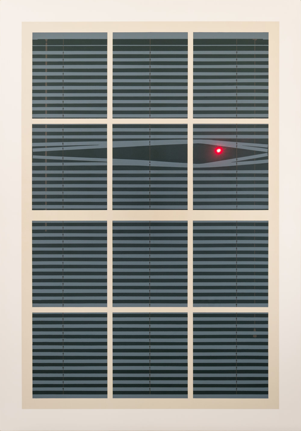 CHRISTOPHER GIDEON The Window (2017) latex on baltic birch panel, LED 28 x 40 inches   INQUIRE