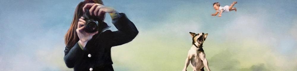 The Alarmist , 2018, oil on canvas, 12 x 48 inches