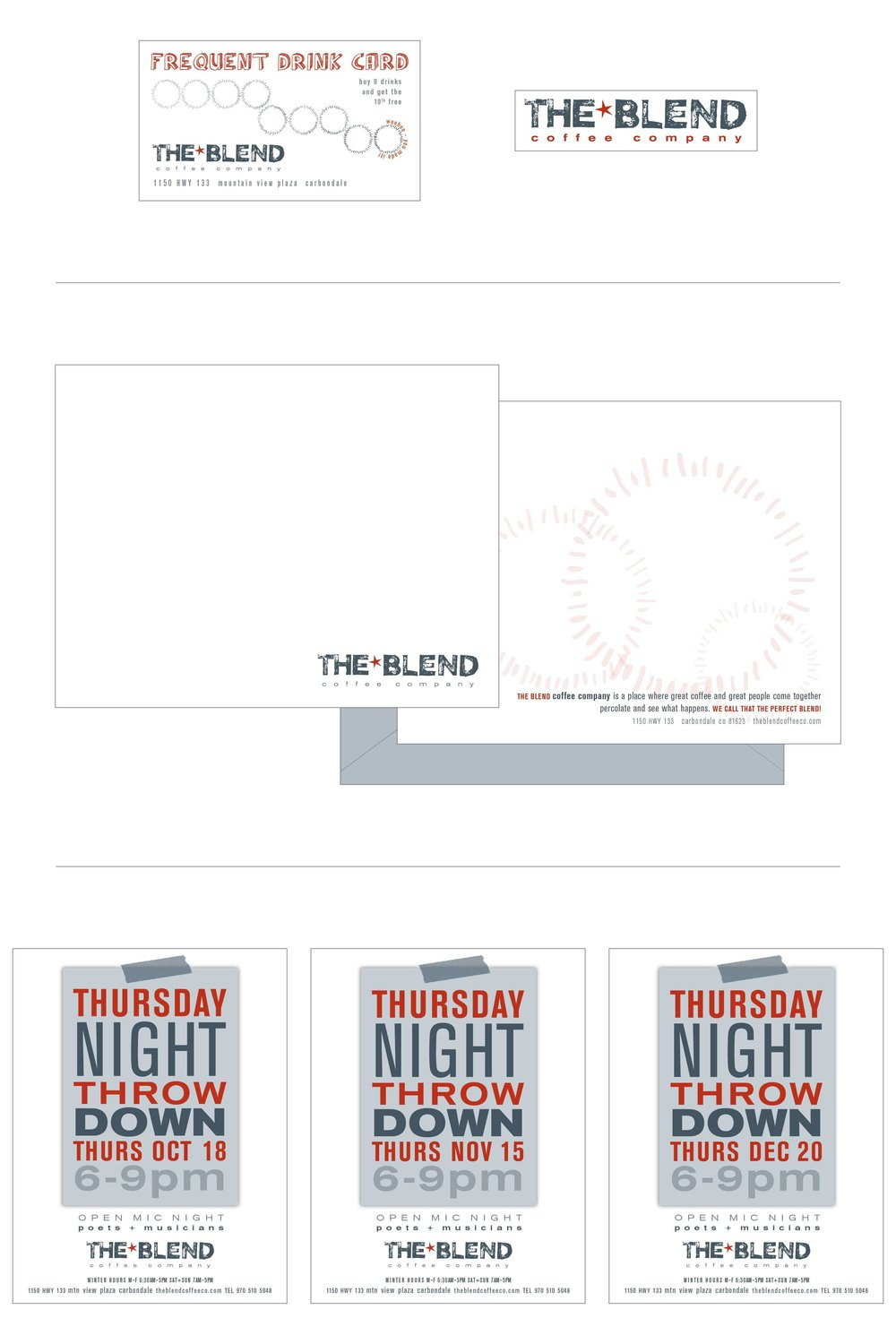 The Blend brand collateral design by The Qurious Effect, a brand and Squarespace web design company.