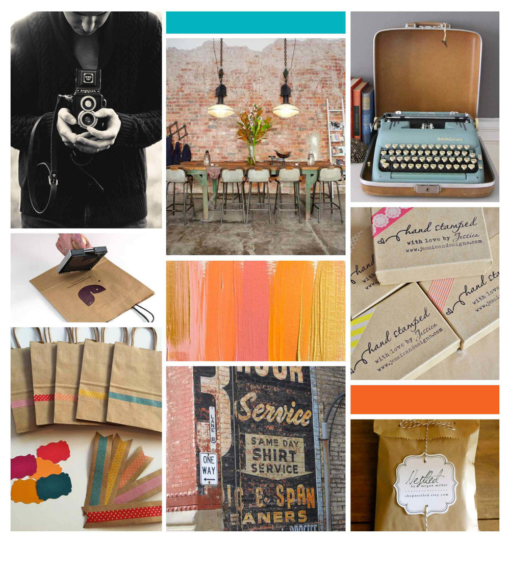 Brick and Mortar Brand Inspiration board by The Qurious Effect, a brand and Squarespace web designer