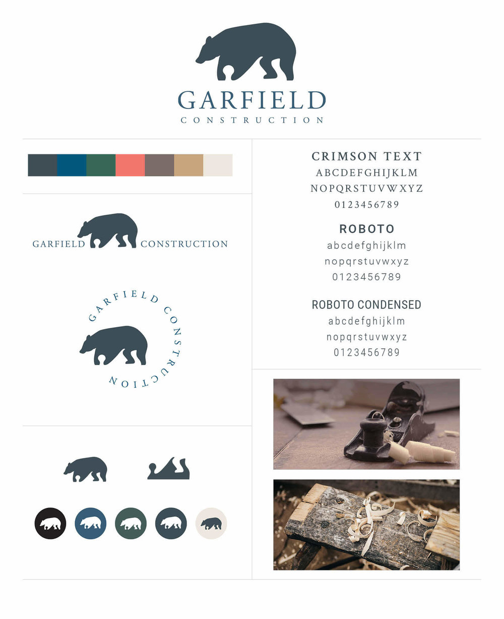 Garfield Construction brand board by The Qurious Effect. A brand and Squarespace web designer.