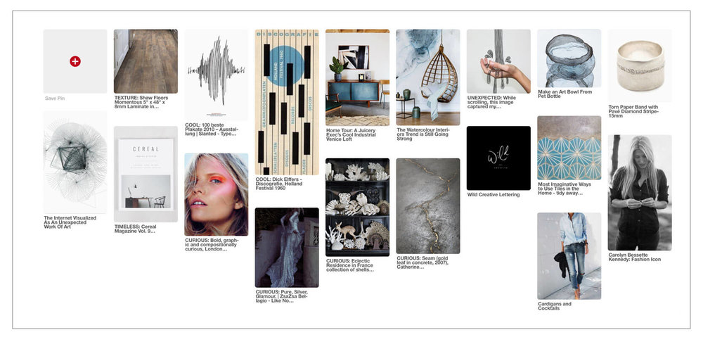 The Qurious Effect brand inspiration board. A brand and Squarespace Web design studio.