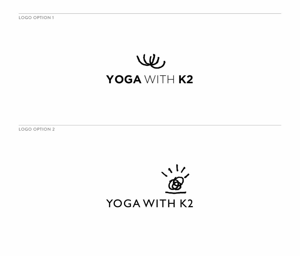 Yoga with K2 logo design options by The Qurious Effect, a branding and Sqaurespace web design studio based in Santa Barbara, CA