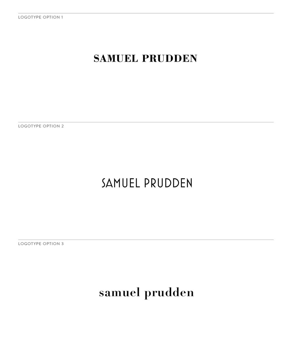 Samuel Prudden logotype options by The Qurious Effect. A brand identity and Squarespace web design studio.