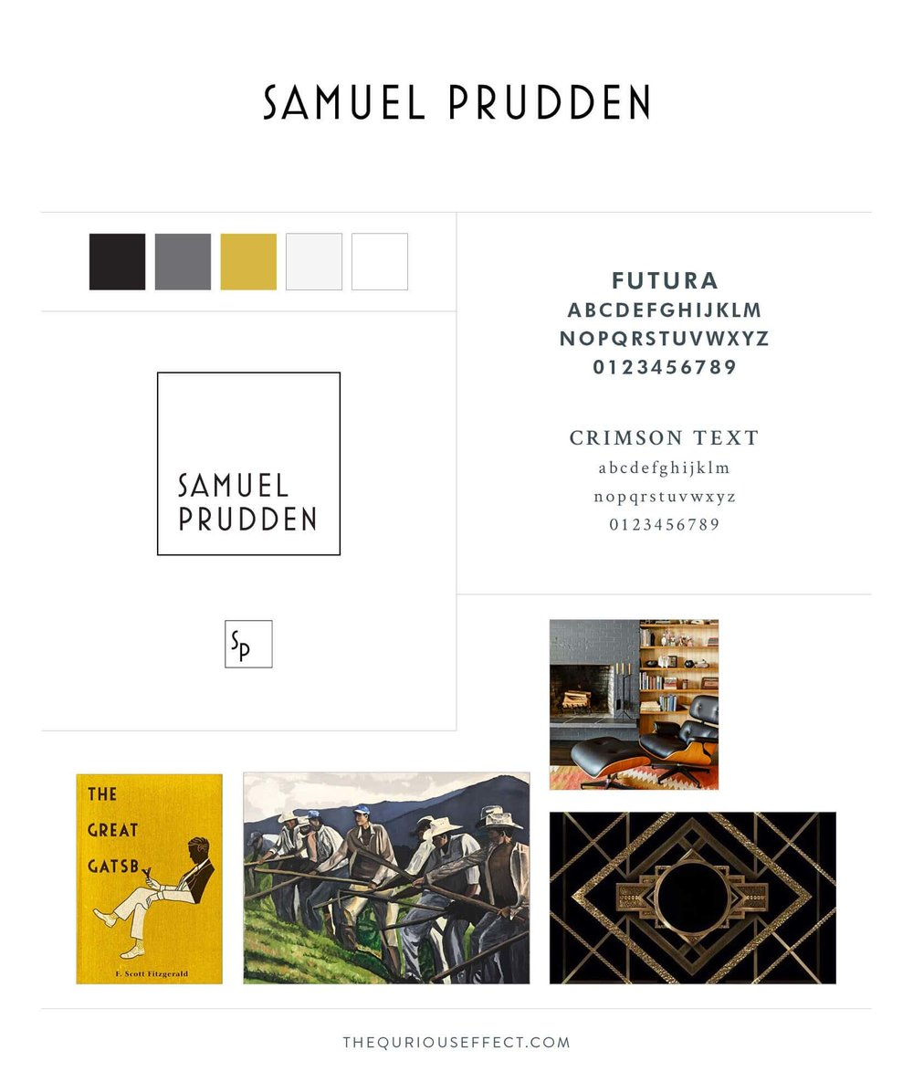 Samuel Prudden brand board by The Qurious Effect. A brand identity and Squarespace web design studio.