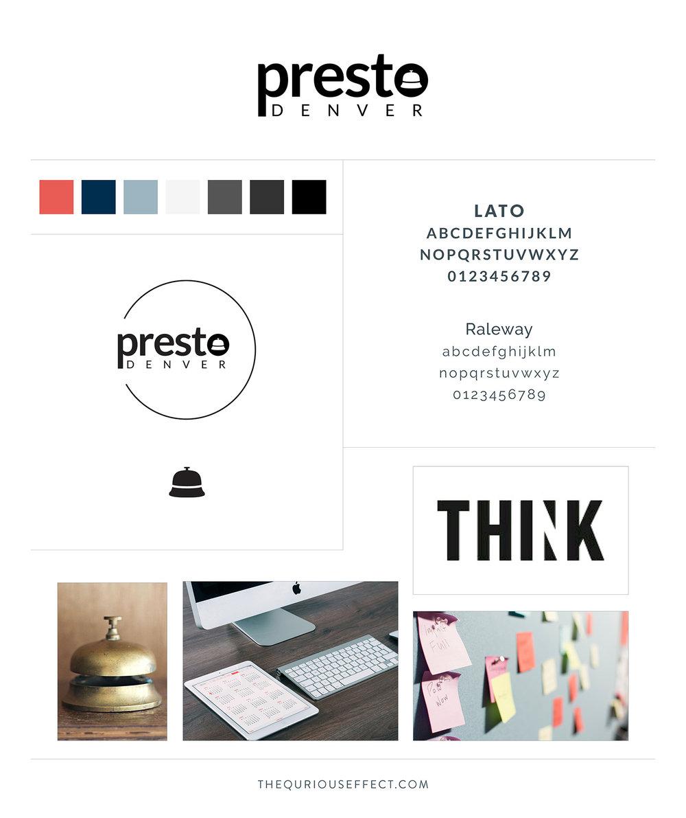 Presto Denver brand board by The Qurious Effect. A brand identity and Squarespace web designer.