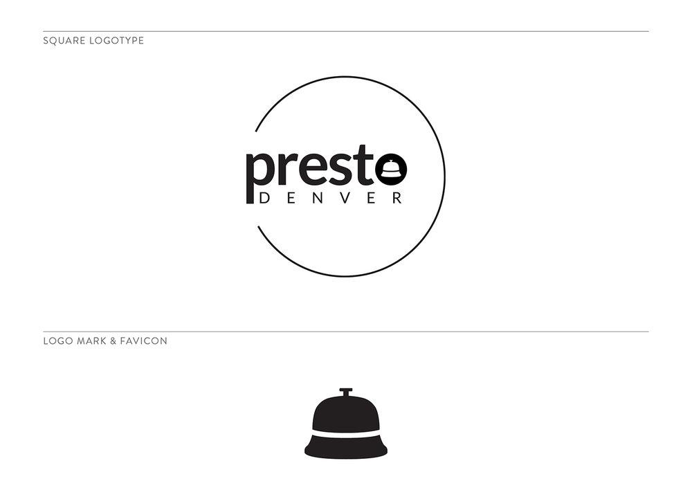 Presto Denver Secondary Logo and Mark by The Qurious Effect. A brand and Squarespace website designer.