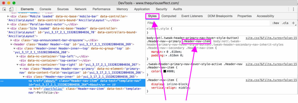 Image of Chrome Inspect Element showing how to find your Squarespace website's header element name. By The Qurious Effect, Squarespace web designer