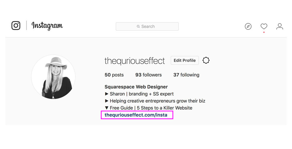 Image showing Instagram's link in profile by The Qurious Effect, Squarespace web designer.