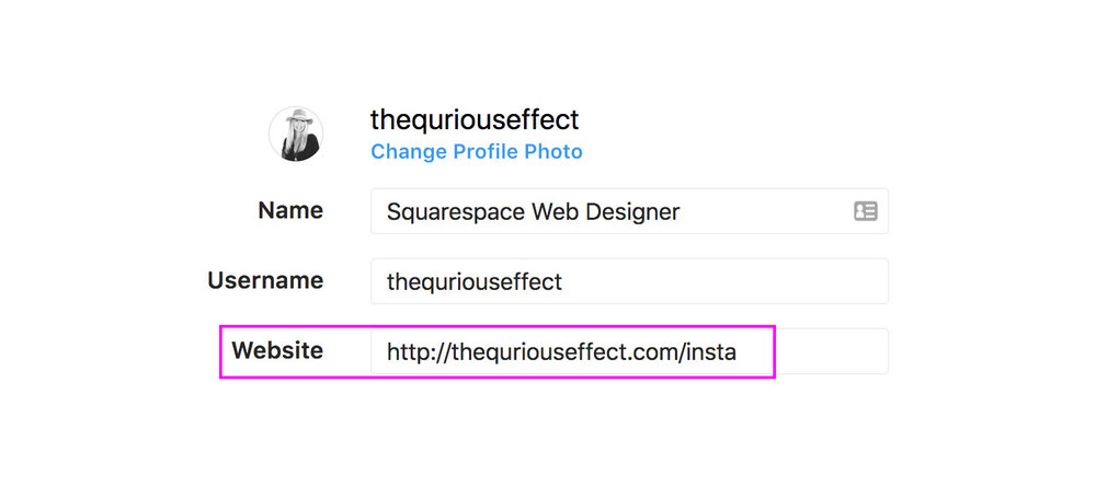 Image that shows how to edit an Instagram website by The Qurious Effect, Sqaurespace Web Design.