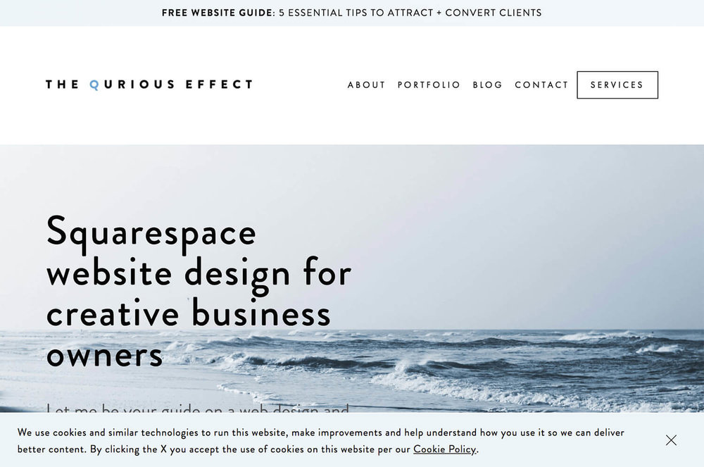 Image of the Squarespace Cookie Banner bottom banner option with icon. Via The Qurious Effect.