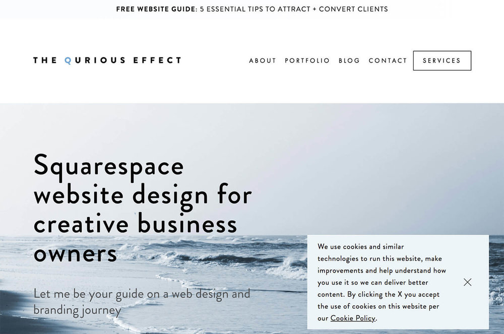 Image of the Squarespace Cookie Banner bottom right Pop Up banner option. Via The Qurious Effect.