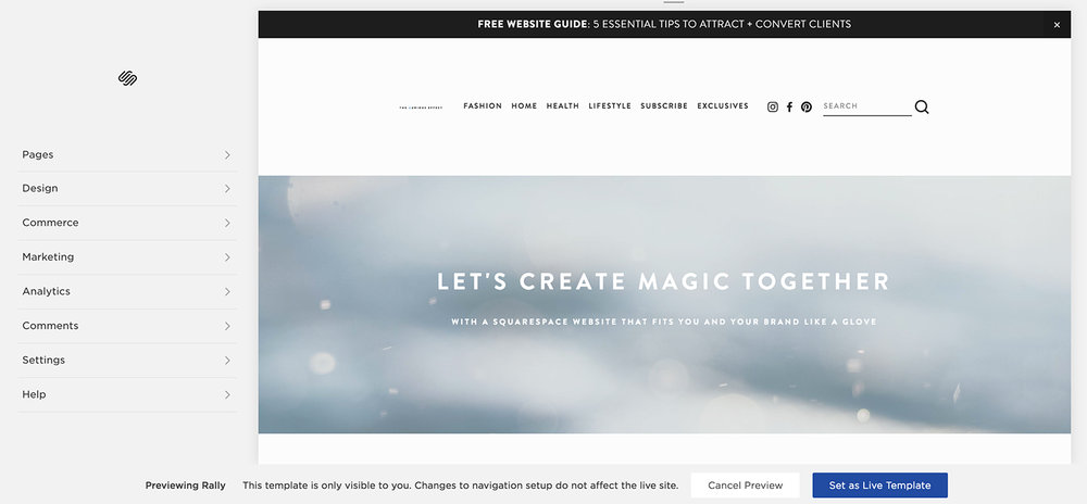 Image showing where to set a new Squarespace template as your live template. By The Qurious Effect, a Squarespace web designer and specialist.