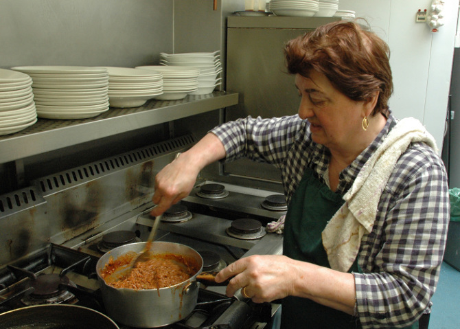Mama Maria has been cooking in E. Pellicci's kitchen since 1961.