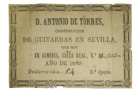 An original 'Torres' luthier label from 1883