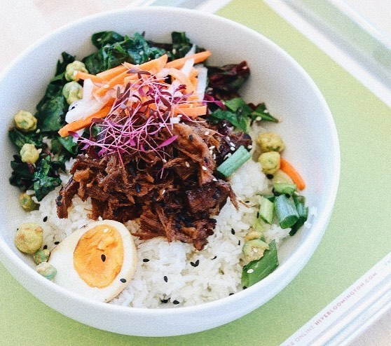 Start your week with a delicious, comforting Braised Pork Bowl, $3 off today and tomorrow! This bowl features braised pork from Fischer Farms, jasmine rice, pickled daikon & carrot, sautéed greens, tea egg, wasabi peas, and microgreens, perfect for dine-in or Grab-N-Go.