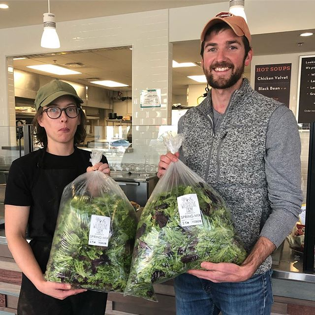 Katie's super excited about our delivery of #fresh #local greens from our friend Kyle at @wilderlovefarm ! . . . . . . . . . . . . #eatlocal #greens #eatyourveggies #supportlocal #thankful