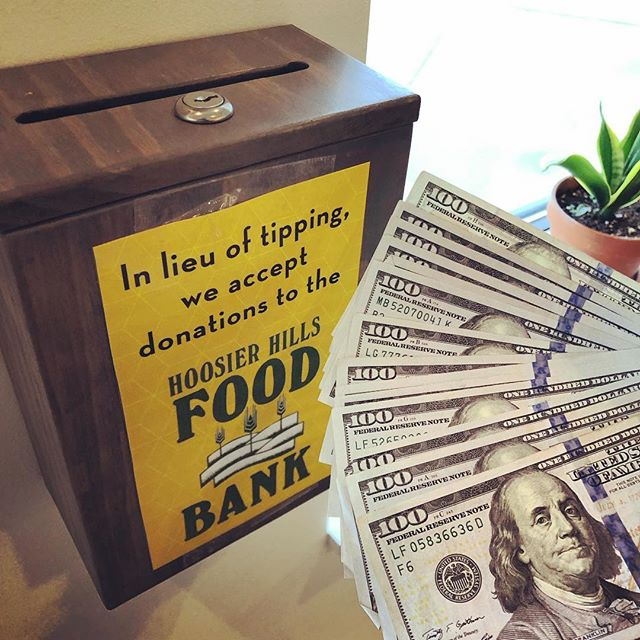 We were surprised and delighted to learn that an anonymous donor dropped 15 crisp hundos in our donation box for Hoosier Hills Food Bank. $1500! @hoosierhillsfb . . . . . . . . . . . #giving #thanks #thanksgiving #community #generosity #kindness #bloomingtonindiana