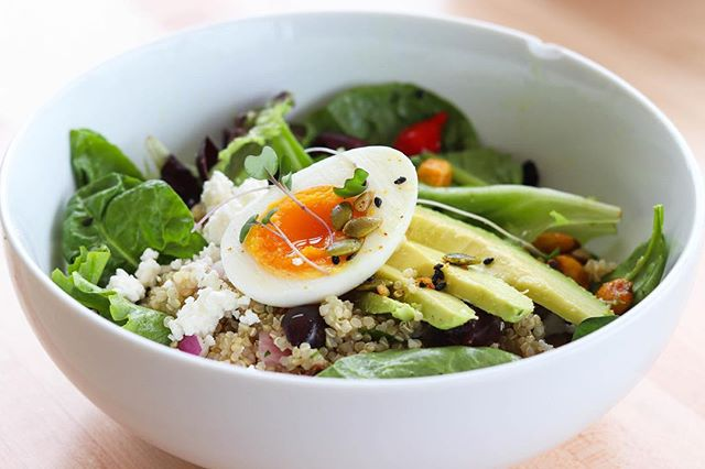 Until the end of January, enjoy $2 off our Yoga bowl, featuring mixed greens, quinoa salad, sweety-drop peppers, house vinaigrette, feta, avocado, kalamata, 7-minute egg, and Hive crunch mix.