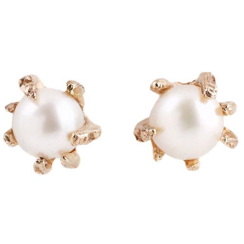 White Freshwater Pearl Gold Studs Lauren Wolf Jewelry