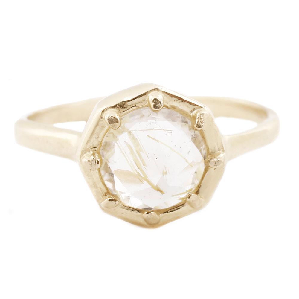 Yellow Rutilated Quartz Gold Ring Lauren Wolf Jewelry