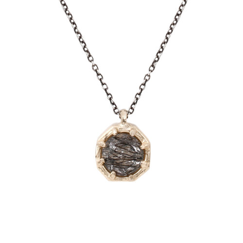 gallery lyst octagon icon burnished brand pendant in necklace gold jewelry