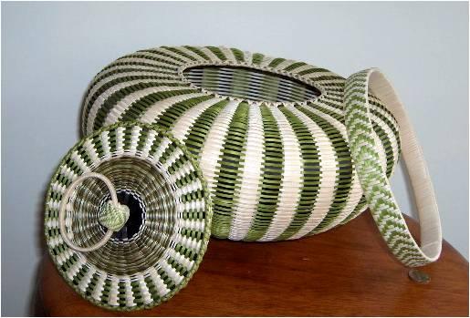 Jeremy Frey, green urchin basket, 2008, in pieces