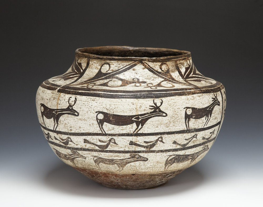 A:shiwi (Zuni),New Mexico, storage jar, late 19th century. Terracotta with pigment, 9 5/8 × 13 3/8 in. Hood Museum of Art, Dartmouth College: Gift of Heidi and Arthur Lewis Wood, Class of 1934; 987.61.26901.