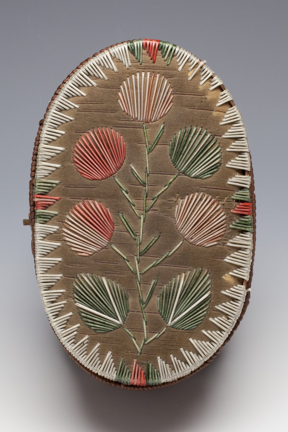 Anishinaabe, oblong birch bark basket with lid, about 1900, top view