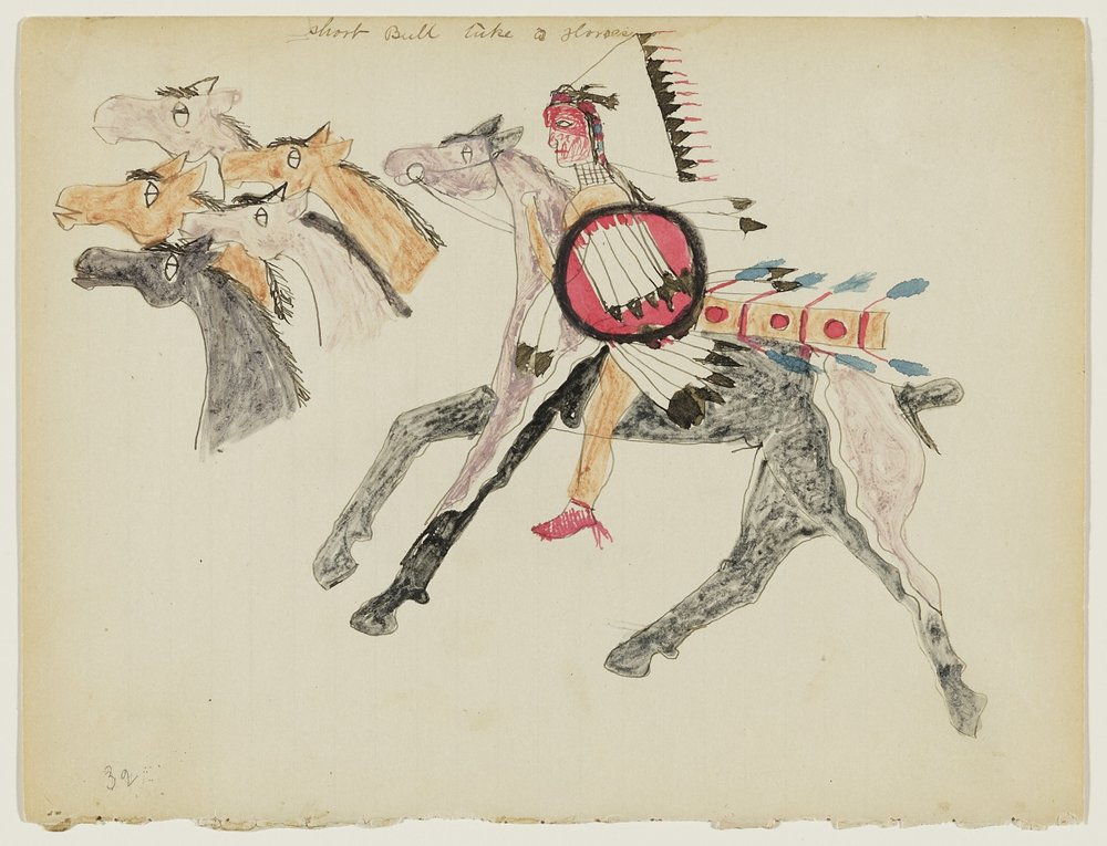 Short Bull (Tatanka Ptecela), American (Lakota), about 1845–1915, Untitled (Short Bull Raiding Five Horses) , page 32 from a Short Bull notebook, about 1885–90. Ink, watercolor, and graphite on wove blue-lined notebook paper, 7 5/8 × 10 in. Hood Museum of Art, Dartmouth College: Mark Lansburgh Ledger Drawing Collection; Partial gift of Mark Lansburgh, Class of 1949; and partial purchase through the Mrs. Harvey P. Hood W'18 Fund, and the Offices of the President and Provost of Dartmouth College; 2007.65.61.