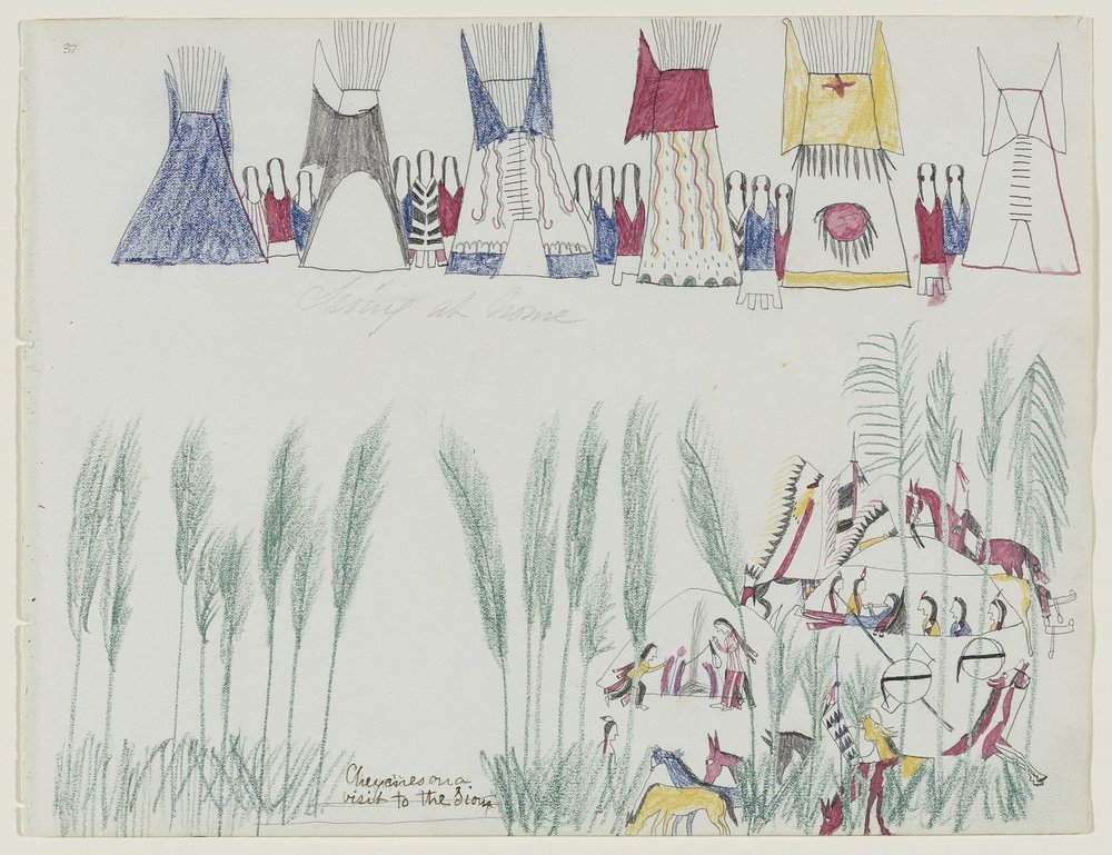 """Chief Killer (Noh-hu-nah-wih), Southern Tsistsistas, 1849–1922, Untitled (""""Cheyennes on a visit to the Sioux"""") , page 37 from a Chief Killer sketchbook, about mid-1875–mid-1878. Graphite, colored pencil, and red ink on wove sketchbook paper, 8 5/8 × 11 1/4 in. Hood Museum of Art, Dartmouth College: Mark Lansburgh Ledger Drawing Collection; Partial gift of Mark Lansburgh, Class of 1949; and partial purchase through the Mrs. Harvey P. Hood W'18 Fund, and the Offices of the President and Provost of Dartmouth College; 2007.65.22."""